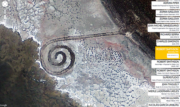Aerial view of Robert Smithson's Spiral Jetty, Utah