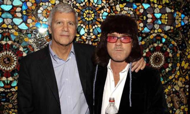 Larry Gagosian and Damien Hirst at the Gagosian gallery in Beverly Hills