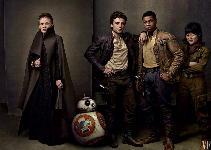 Carrie Fisher, Oscar Isaac, John Boyega, and Kelly Marie Tran photographed by Annie Leibovitz for Vanity Fair. Image courtesy of Vanity Fair