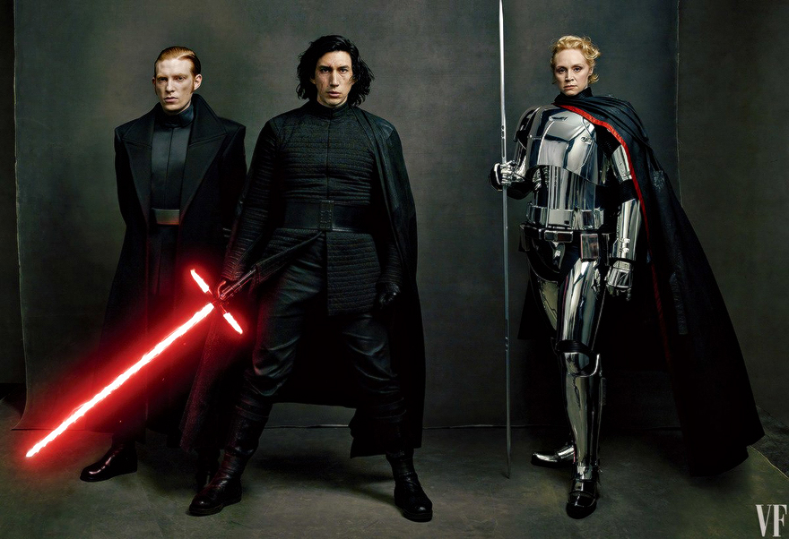 Domhnall Gleeson, Adam Driver and Gwendoline Christie photographed by Annie Leibovitz for Vanity Fair. Image courtesy of Vanity Fair