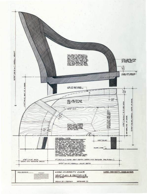 A technical drawing of the 1550 University chair, first designed by Ward Bennett for the LBJ Library
