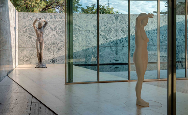 Architectones at the Barcelona Pavilion (2014) by Xavier Veilhan. Kolbe's Dawn is at the back. Photo by Florian Kleinefenn