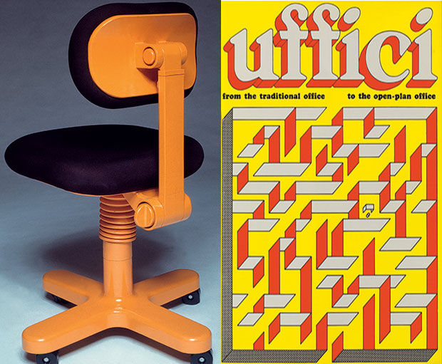 Adjustable typist chair from the Sistema 45 collection, 1973, by Ettore Sottsass, and the cover of Sottsass's accompanying Uffici booklet, 1973. From our Sottsass monograph