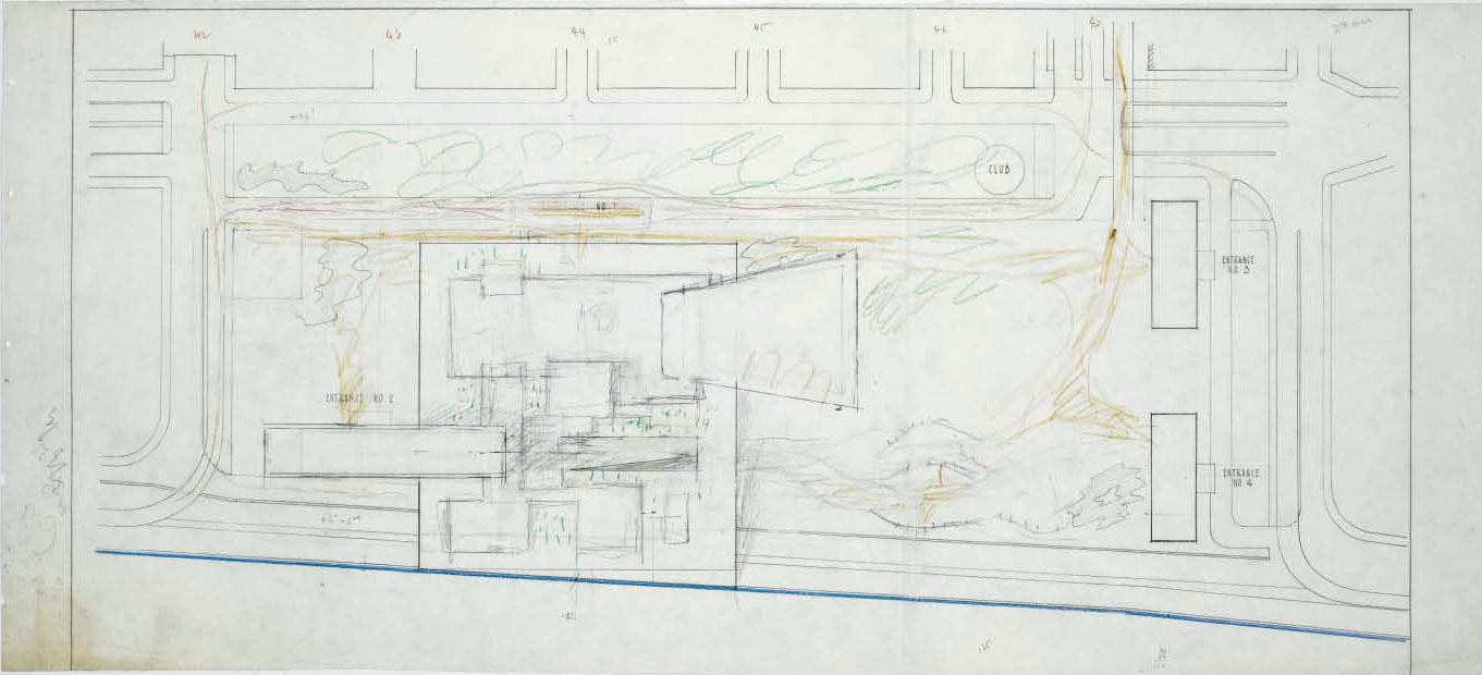 Site plan, UN headquarters, 1947, by Le Corbusier. From Le Corbusier Le Grand
