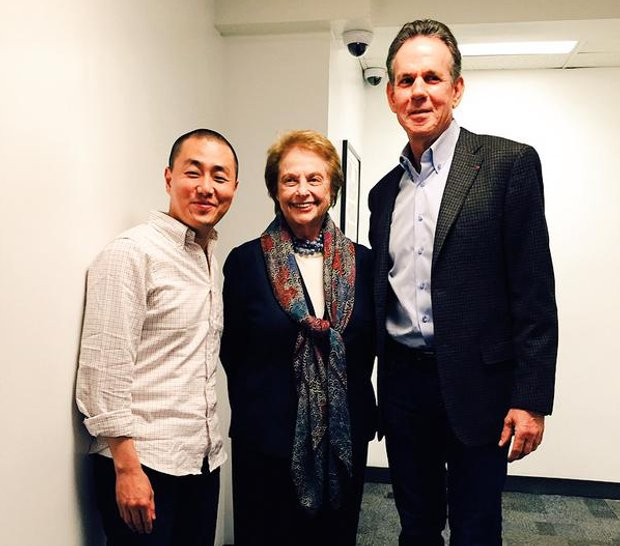 From left: Corey Lee, Mimi Sheraton, Thomas Keller, at 92Y, New York. Image courtesy of French Laundry's Twitter