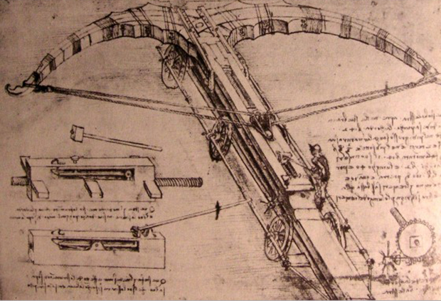 Leonardo da Vinci's illustrations for a giant crossbow, 1488–1489.