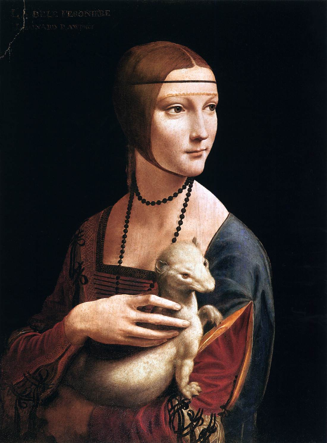 Lady with an Ermine (Cecilia Gallerani) (1489–90) by Leonardo da Vinci. As reproduced in The Art Musuem