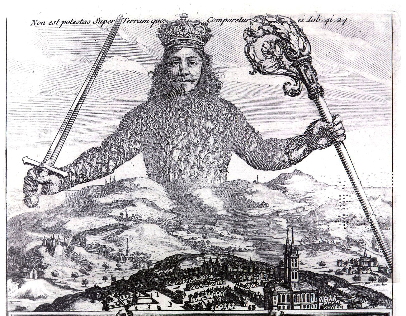 Detail from the frontispiece for Leviathan (1651) by Thomas Hobbes, etching by Abraham Bosse.