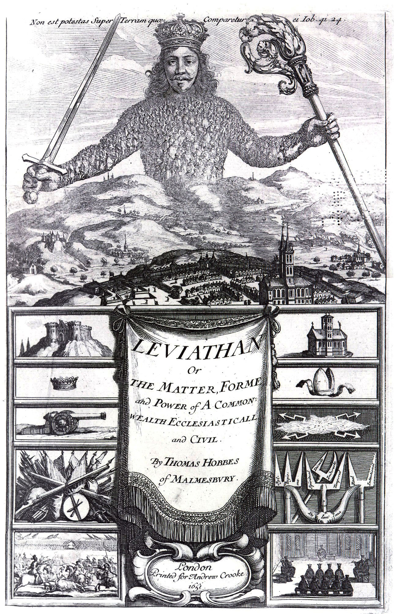 The frontispiece for Leviathan (1651) by Thomas Hobbes, etching by Abraham Bosse. From Body of Art