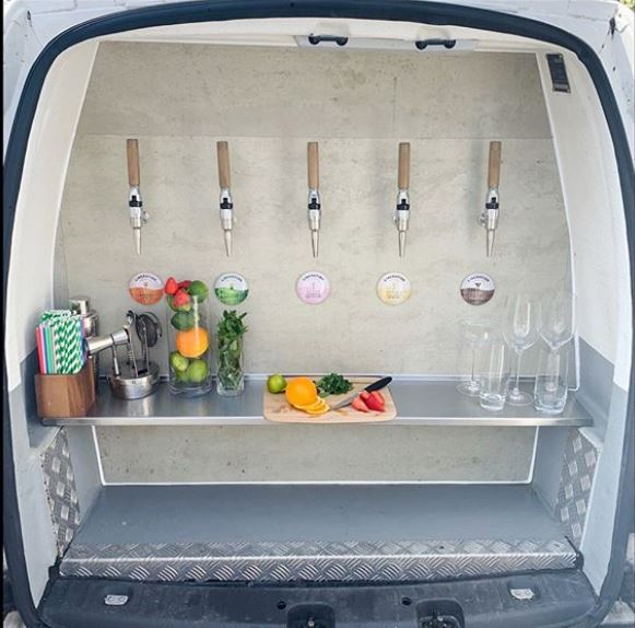 Liberation Cocktail's Cocktail Cruiser van. Image courtesy of their Instagram, @liberationcocktails