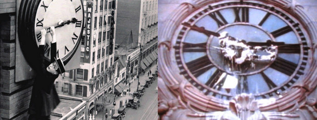 Stills from Harold Lloyd's Saftey Last (1923) and Gordon Matta-Clark's Clockshower (1973)