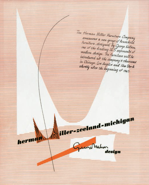 Herman Miller advertisement featuring inaugural appearance of the M trademark, designed by Irving Harper, 1946. As reproduced in Herman Miller: A Way of Living