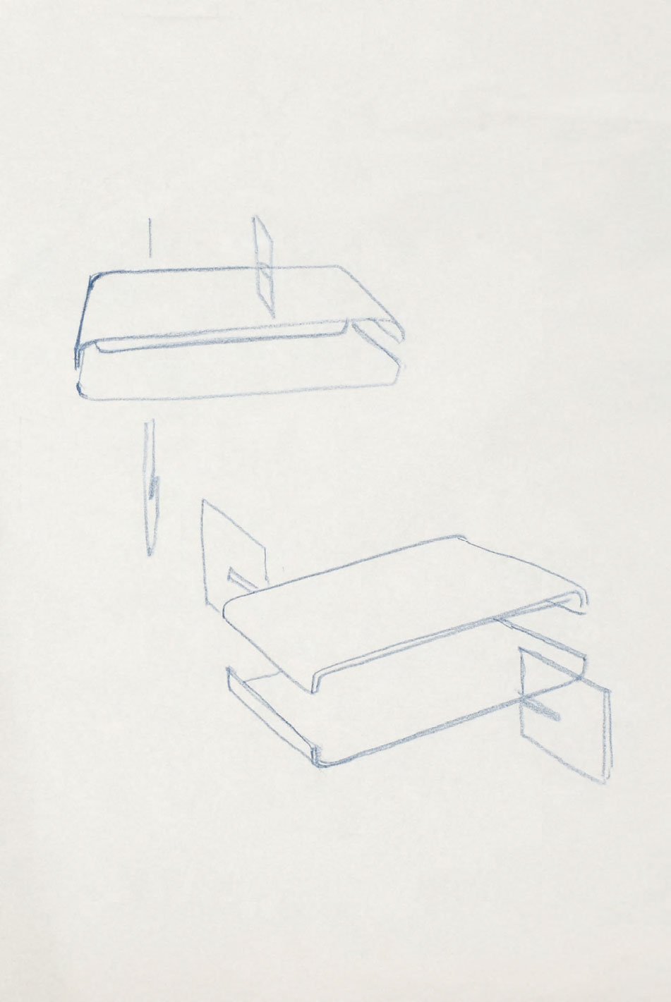 Development sketches of Loop Table, ink on tracing paper, 1996