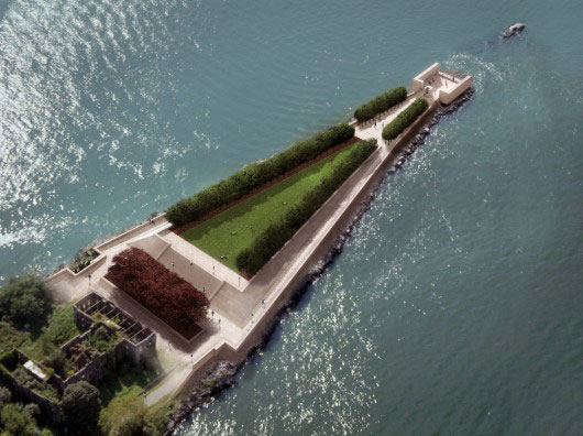 Four Freedoms Park - Louis I Kahn Aerial Rendering Prior to Completion. Image Courtesy of Franklin D. Roosevelt Four Freedoms Park, LLC
