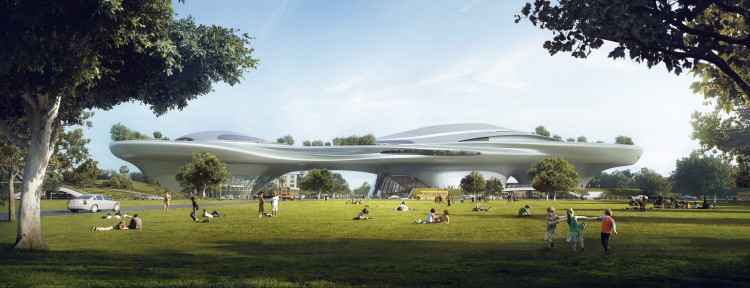 Los Angeles concept design renderings for the Lucas Museum of Narrative Art by MAD Architects. Image courtesy of Lucas Museum of Narrative Art.