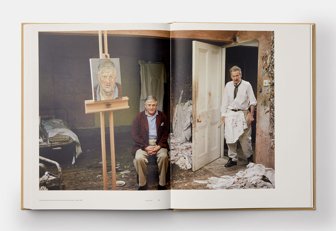 David Hockney in Lucian Freud's studio 2002 - A spread from Lucian Freud: A Life