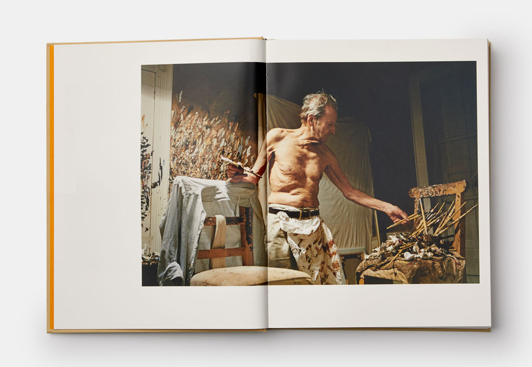 Lucian Freud in the studio photographed by David Dawson - from Lucian Freud: A Life