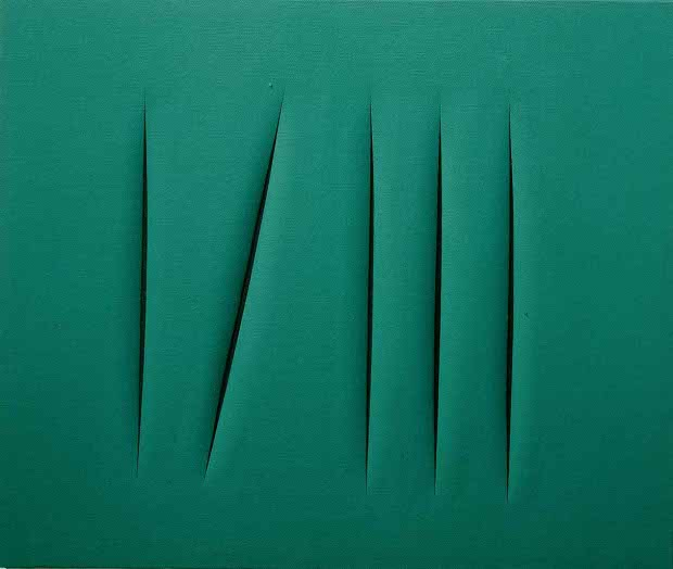 Spatial Concept (1968) by Lucio Fontana, from his 'tagli' series. From Painting Beyond Pollock