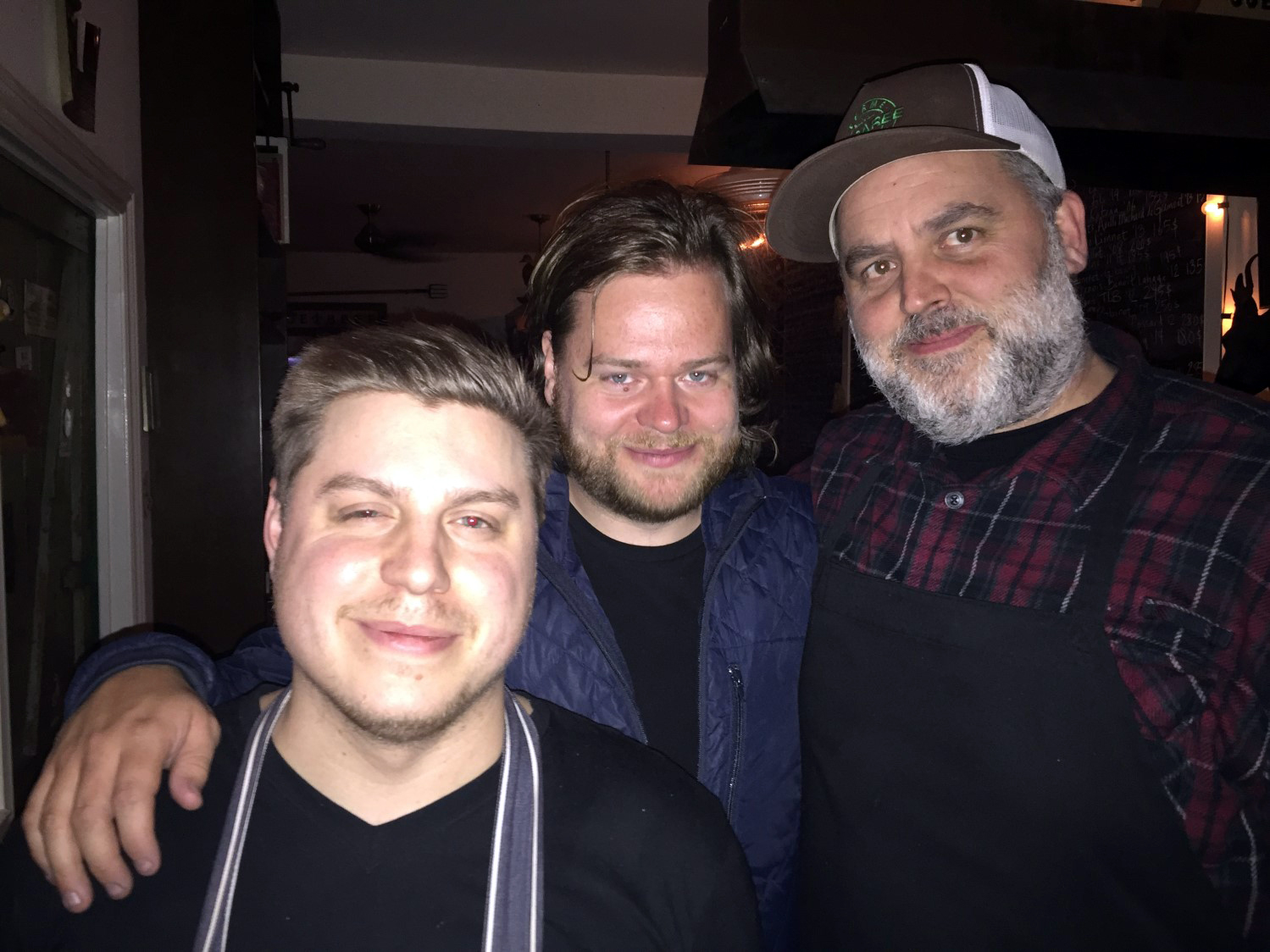 Magnus with local restaurant Joe Beef's chef Marc-Olivier Frappier and owner David McMillan
