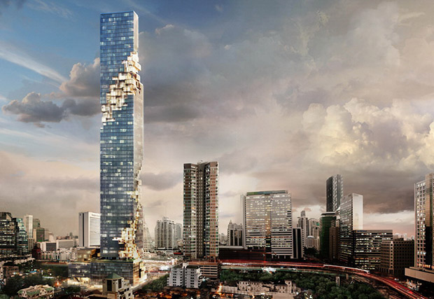 No, this Thai skyscraper is not falling down
