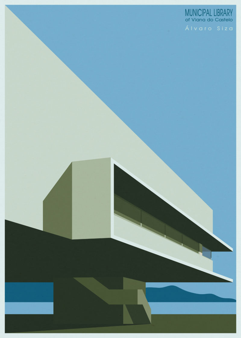 Álvaro Siza's Municipal Library of Viana do Castelo, Portugal as illustrated by André Chiote