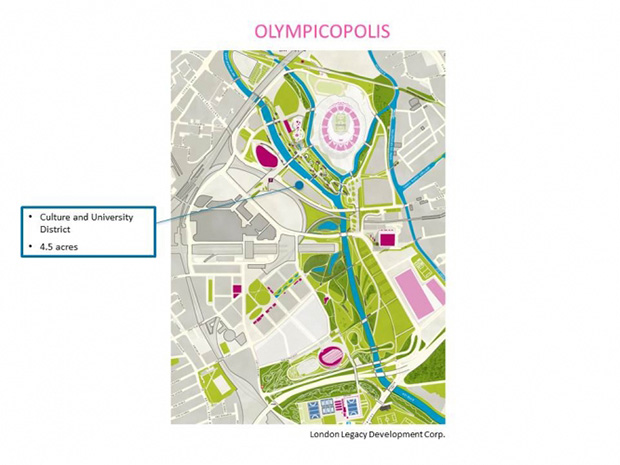 The triangular site (4.5 acres) for the culture and university district of 'Olympicopolis'. London Legacy Development Corp. (LLDC)