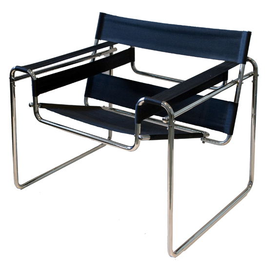 Wassily (b3) Chair (1926) by Marcel Breuer. This earlier design used bent metal tubing
