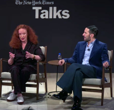 Grace Coddington and Marc Jacobs at last Friday's Times Talk