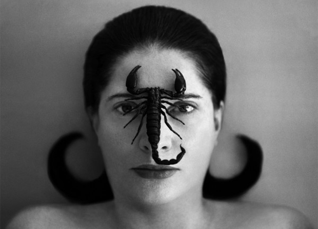 Marina Abramovic, portrait with Scorpion, (open eyes) 2005