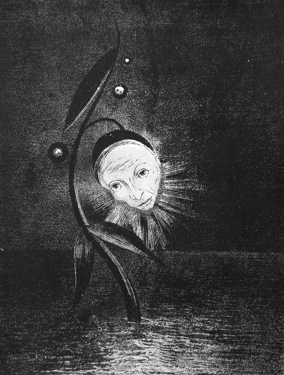 The Marsh Flower, A Sad Human Head (1885) by Odilon Redon. As reproduced in Art in Time