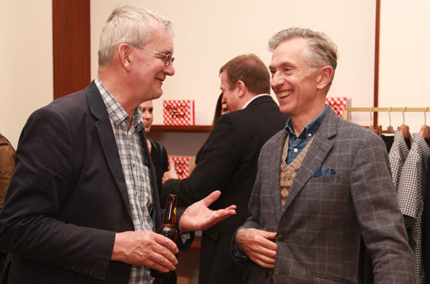 Martin Parr and Grey Fox founder David Evans at the Real Food launch at E.Tautz - photo by Jose Cuevas http://www.josecuevas.co.uk