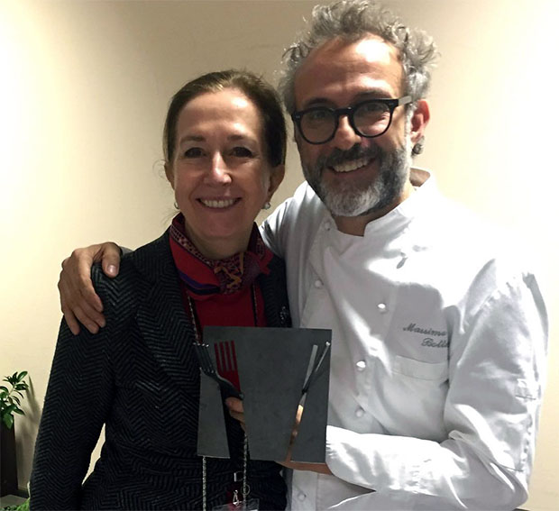 Madrid Fusion's Lourdes Plana with chef Massimo Bottura and his new award