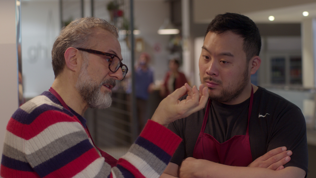 Massimo Bottura and David Chang in Ugly Delicious. Image courtesy of Netflix