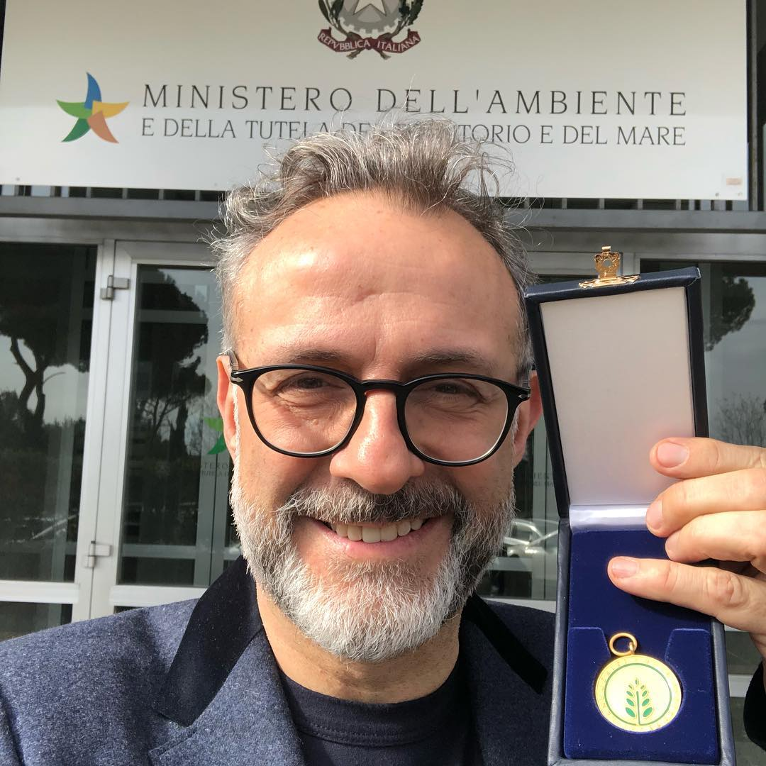 Massimo Bottura with gold medal. Image courtesy of Massimo's Instagram