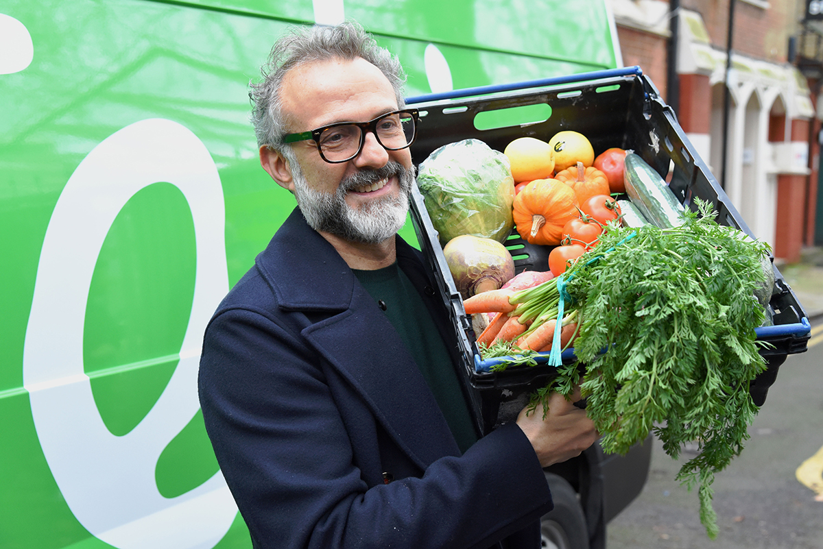 Massimo with produce from the Felix Project