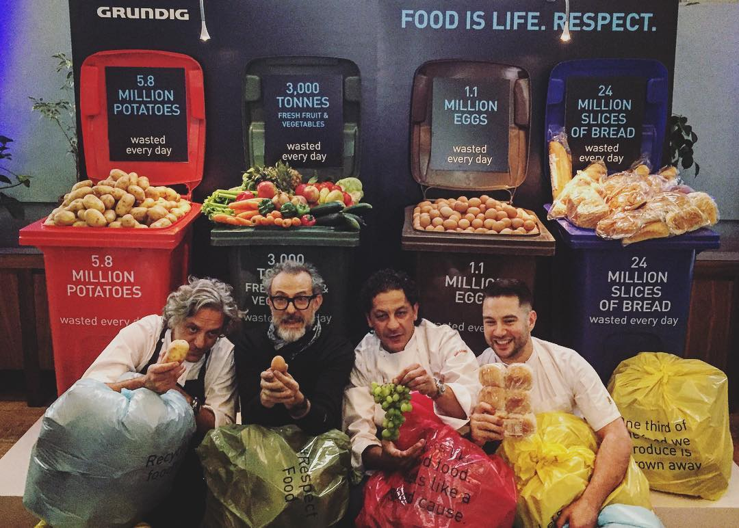 Giorgio Locatelli, Massimo Bottura, Francesco Mazzei, and Robert Chambers at Refettorio Felix, London. Image courtesy of Massimo's Instagram