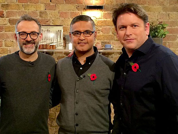 Saturday Kitchen, from left: Massimo Bottura, Atul Kochhar and James Martin