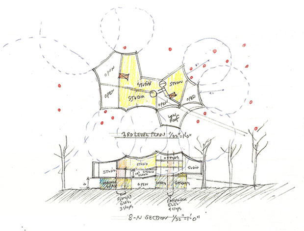Holl's drawings for the new Visual Arts Building at Franklin & Marshall College, Lancaster, Pennsylvania, by Steven Holl. Image courtesy of stevenholl.com