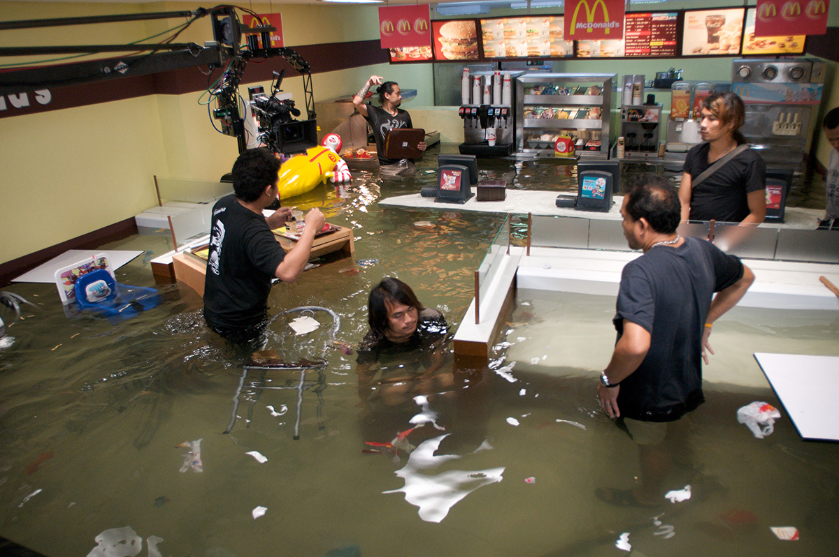 Flooded McDonald's film, production still, courtesy of Superflex