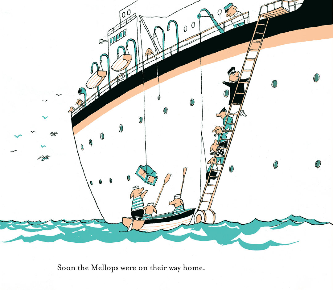 An illustration from The Mellops Go Diving for Treasure by Tomi Ungerer