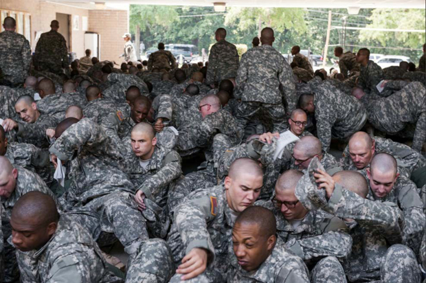 Fort Jackson military base, Sept 2011. New recruits prepare to board a bus to their barracks.