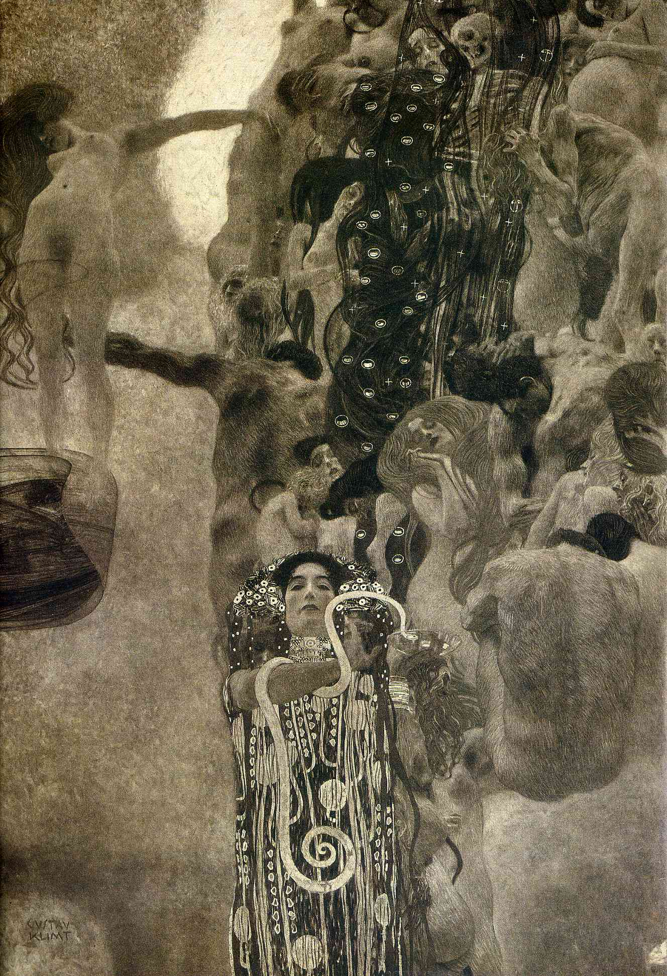 Detail from a black and white photograph of Gustav Klimt's Medicine (c. 1907). The original was destroyed by the Nazis in 1945