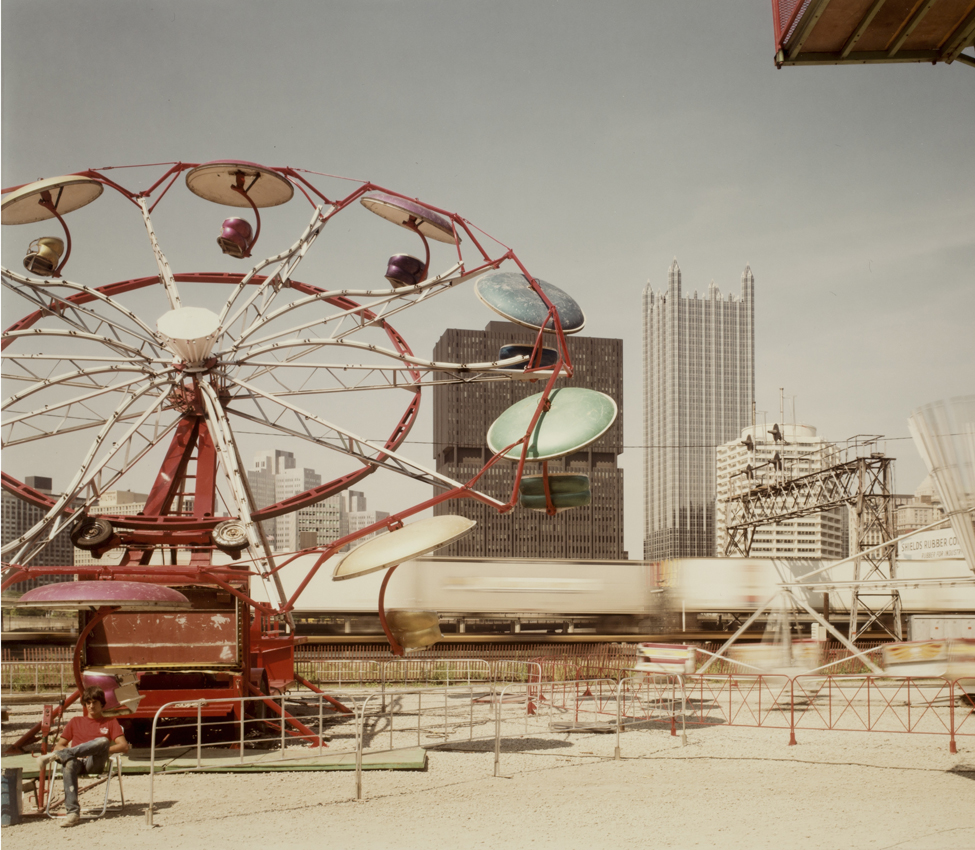 Pittsburgh, Carnival and train, 1984, by Joel Meyerowitz