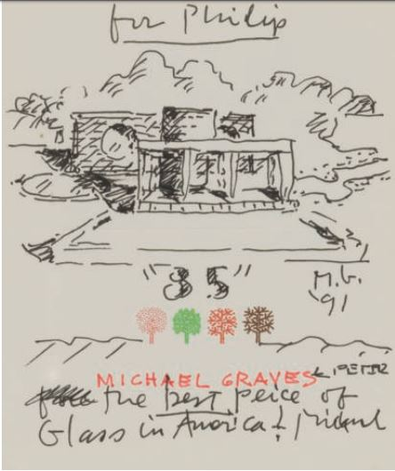 A sketch by Michael Graves given to Philip for his eighty-fifth birthday, New York, 8 July 1991