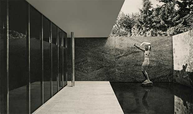 Barcelona Pavilion (1928-29); small courtyard with Georg Kolbe's Dawn - Mies van der Rohe
