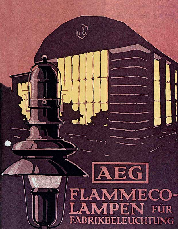 Peter Behrens, poster design for the Allgemeine Elektrizitäts-Gesellschaft (AEG) Behrens's Turbine Factory is shown in the background