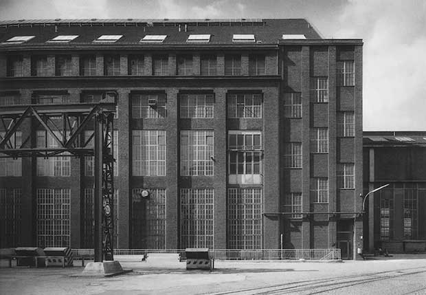 AEG Turbine Factory, west courtyard elevation; Ludwig Mies worked on this elevation while employed by Behrens