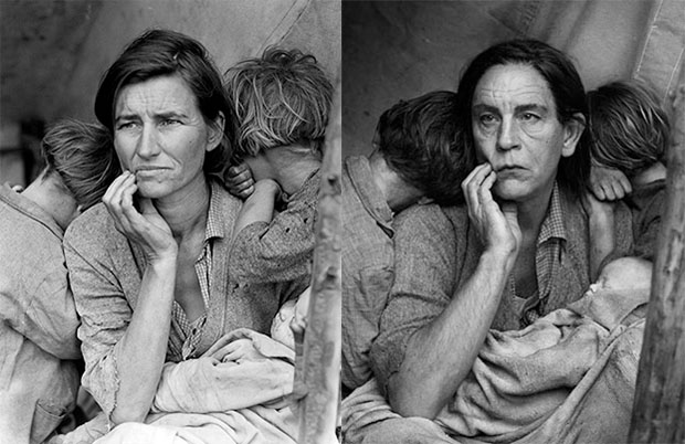 From Left: Migrant Mother, Nipomo, California, 1936 by Dorothea Lange; Dorothea Lange / Migrant Mother, Nipomo, California (1936), 2014 by Sandro Miller. From the Malkovich, Malkovich, Malkovich - Homage to photographic masters series. Courtesy of the artist and Catherine Edelman Gallery, Chicago.
