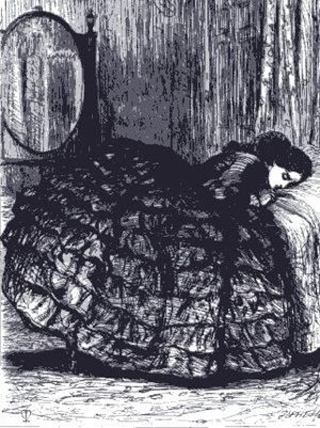 Millais' illustration for Trollope Rachel Ray (1863)