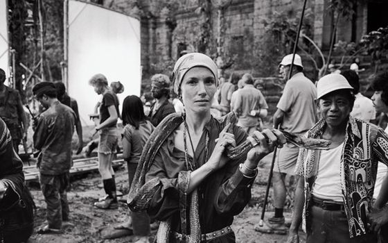 Mary Ellen Mark with a snake during the filming of Apocalypse Now, Pagsanjan, The Philippines, 1976  (photograph by Dean Tavoularis)